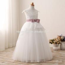 2016 moda crianças vestido da menina de flor para o casamento mais recente cor branca rendas crianças vestido de noiva