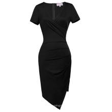 Belle Poque Kurzarm V-Ausschnitt Asymmetrische Hüften-Wrapped Schwarz Bodycon Bleistift Kleid BP000363-1
