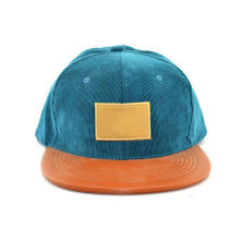 Leather Strap Blank Corduroy Snapback Hat