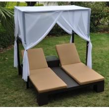 Chaise longue Sun Lounger en osier avec auvent