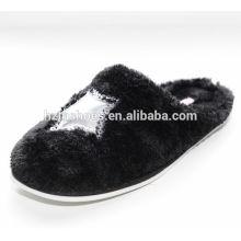 Soft plush indoor slippers with sequin star women winter slipper