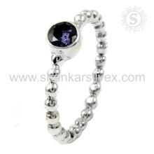 Bijoux en argent aristocratique Bague en iolite bleue Bague en argent 925 Fabrication d'anneaux