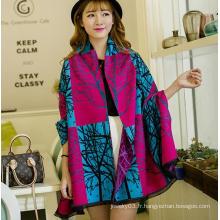 Echarpe en gros pour femmes chinoises, écharpe en laine de merino imprimée en hiver