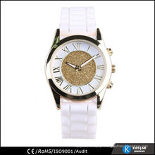 alloy gold case silicone band lady watch