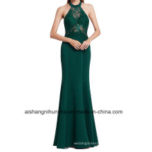 Halter Long Evening Dress Women Mermaid Evening Gown with Lace