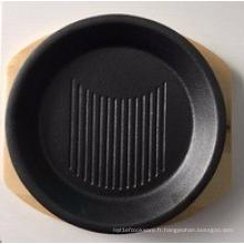Assiette grise ronde en fonte