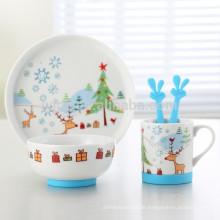 Set aus 5 Keramik-Kinderfrühstücken mit rutschfester Silikonunterlage