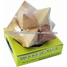 Rompecabezas de madera con ángulo de estrella, estilo de lujo