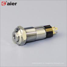 Interruptor de botón de metal de la lámpara de puntos de 10 mm de alto botón SPST