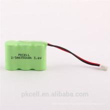 Paquete de batería recargable de las luces solares de NI-MH 3.6V 2 / 3AA 350mah