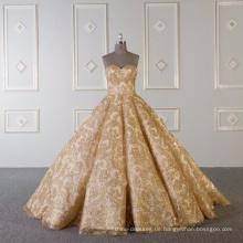 Gold glänzendes trägerloses Brautkleid Brautkleid 2018 mit 60cm Schwanz