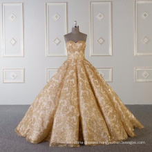 Gold shining strapless wedding dress bridal gown 2018 with 60cm tail