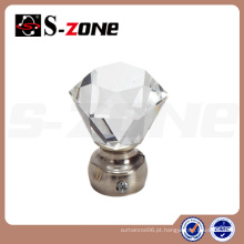 Diamante cristal de vidro de cobre cortina rod finial para China Supply