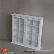Малые Vintage Белый 2 стеклянные двери антикварные шкаф стены