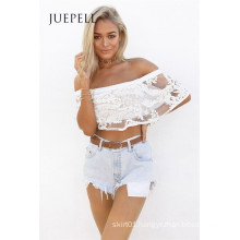 Piage Frill Lace Women Crop Top