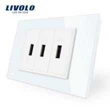 Livolo Chargeur électrique pour batterie chargeur secteur 3 prises USB VL-C93U-11/12