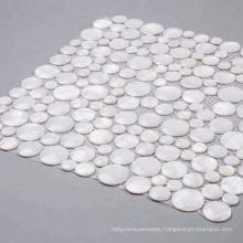 Modern Style White Round Sea Shell Mosaic Tile