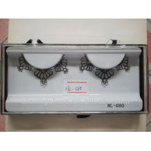 2015 hot design false fake paper eyelashes for wholesale with glue free kits