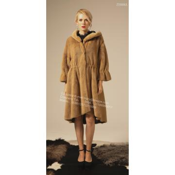 Winter Reversible Women Long Copenhagen Mink Coat