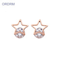 Funky Rose Gold Cubic Zircon Star Stud