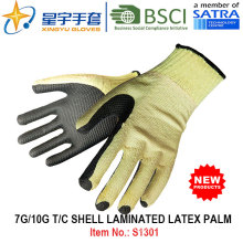 7g/10g T/C Shell Laminated Latex Palm Safety Work Glove (S1301) with CE, En388, En420 for Construction Use Gloves