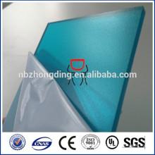 recubrimiento UV hoja de policarbonato sólido azul mate
