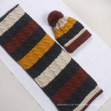 Wintermode Streifen Design Serie gestrickt Acrylhut und Schal