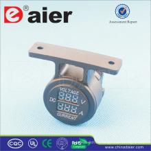 Daier Alta calidad 5V ~ 30V Car Dual Port Digital Voltímetro y Amperímetro con soporte de un agujero Panel