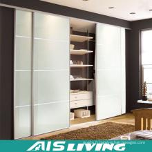 Porte coulissante en verre Armoire en bois pour chambre à coucher (AIS-W023)