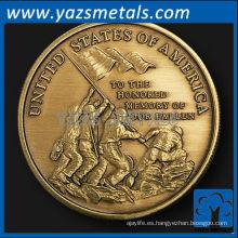 personalizar monedas de metal, personalizado de alta calidad marines medallón conmemorativo de bronce con acabado antiguo