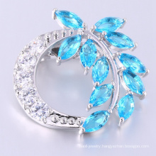Luxury charm leaf shaped blue stone brooch for female