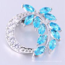 Encanto de luxo em forma de folha broche de pedra azul para o sexo feminino