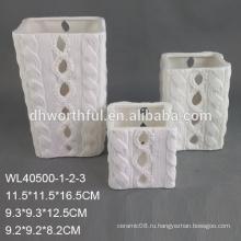 Подгонянный дешевый белый держатель свечки фарфора с логосом покрашенный