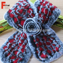 100% Real Knitted Rex Rabbit Fur Scarf