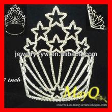 Tiara patriótica del desfile del rhinestone de la pequeña estrella de la venta al por mayor