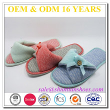 cotton fabric TPR sole fancy cute open-toe slippers for girls
