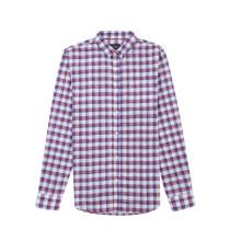 Camisa de manga longa tingida de fios de linho para homem