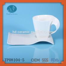 Tasse à expresso et soucoupe pour hôtel, tasse et soucoupe de fournisseur en Chine, tasse à café et assiette, tasse et soucoupe en porcelaine