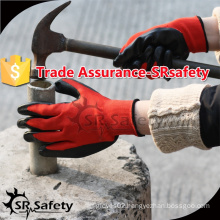 SRSAFETY 13 gauge knitted polyester coated nitrile on palm gloves, best selling in China