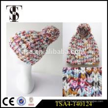El último diseño sus propias gorritas tejidas europeas del invierno del estilo del sombrero del invierno para la venta