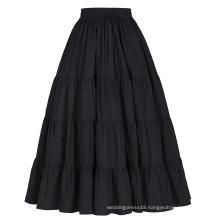 Belle Poque Women's Solid Black Color Wide Hem Cotton Maxi Skirt Long Skirt BP000207-1