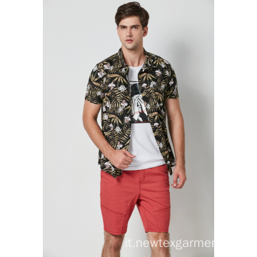 camicie da uomo casual in viscosa stampata hawaii