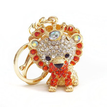 2015 fashion custom keychain metal keychain lion rhinestone keychain wholesale