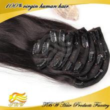 Chinesischer Lieferant 100% unverarbeitete Menschenhaar einfach Clip auf Haarteile für Mode Frau