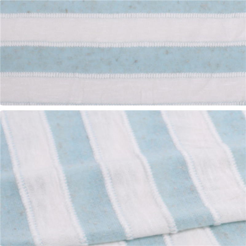 Custom Blue and White Stripes Knitted Jersey Fabric (4)