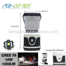 12 Horas de iluminación 4000mah Li-ion de plástico a pilas Cree T6 600 Lumen LED Camping Lantern Speaker