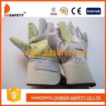 White Cotton Back Rubberized Cuff Half Lining Leather Glove Dlc322