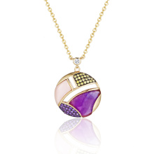 Pink and Amethyst MOP Semi-Precious Stone Necklace