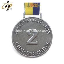 Antique silver 3D second place custom sport metal award medal
