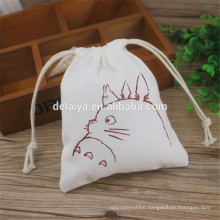 Custom Cartoon Printing Drawstring Cotton Bags, Cotton Canvas Drawstring Bag